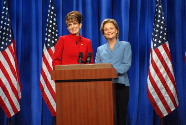 Tina Fey as Sarah Palin and Amy Poehler as Hillary Clinton on SNL