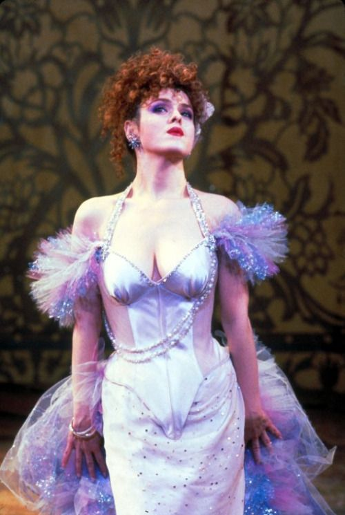 Bernadette Peters in the white dress